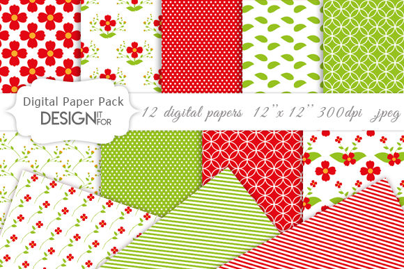 Download Free Flower Digital Paper Pack Graphic By Designitfor Creative Fabrica for Cricut Explore, Silhouette and other cutting machines.