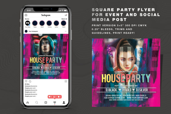 House Party Flyer and Social Media Post Graphic Print Templates By feydesign