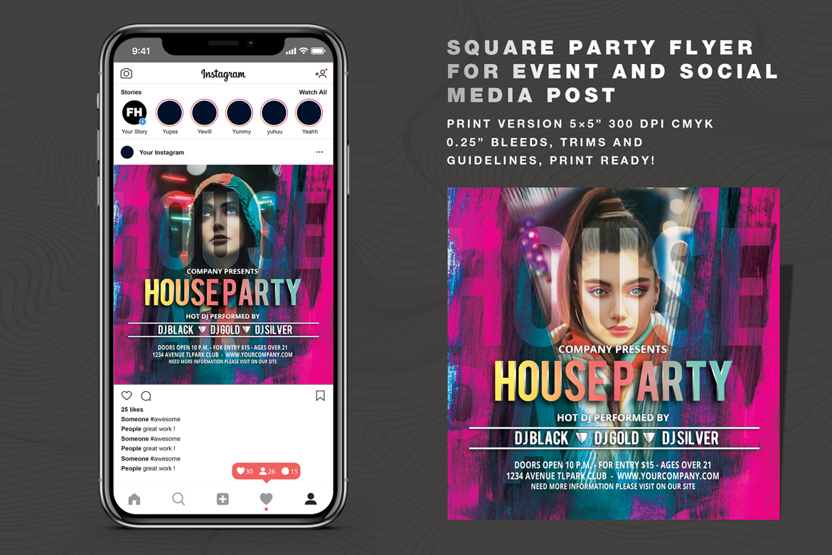Download Free House Party Flyer And Social Media Post Graphic By Feydesign for Cricut Explore, Silhouette and other cutting machines.