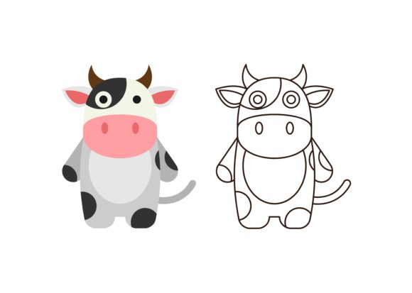 Print on Demand: Kids Coloring Cow Graphic Illustrations By studioisamu