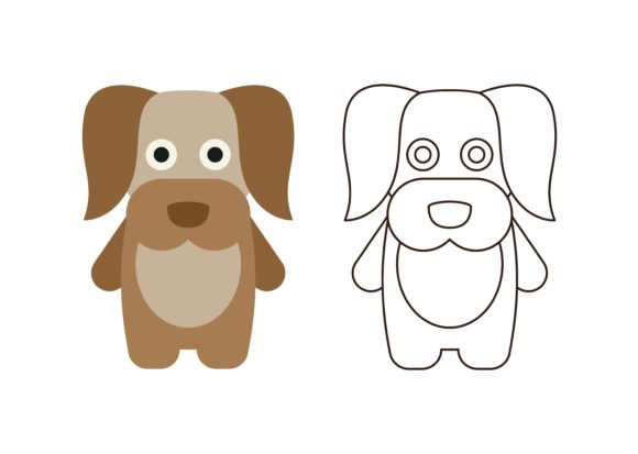 Download Free Kids Coloring Dog Graphic By Studioisamu Creative Fabrica for Cricut Explore, Silhouette and other cutting machines.