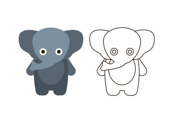 Print on Demand: Kids Coloring Elephant Graphic Illustrations By studioisamu