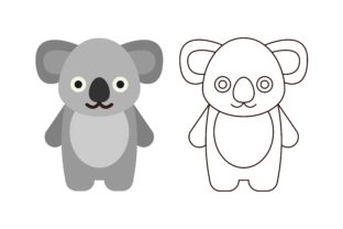Download Free Kids Coloring Koala Graphic By Studioisamu Creative Fabrica for Cricut Explore, Silhouette and other cutting machines.