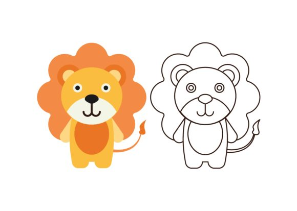 Print on Demand: Kids Coloring Lion Graphic Illustrations By studioisamu