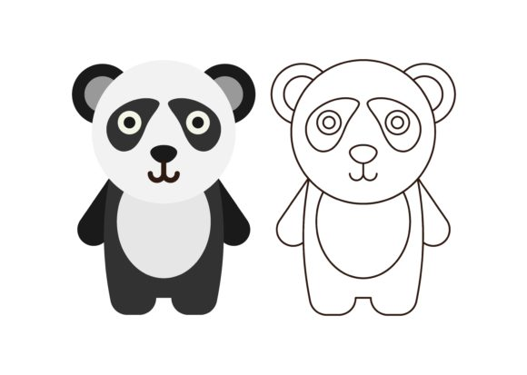 Download Free Kids Coloring Panda Graphic By Studioisamu Creative Fabrica for Cricut Explore, Silhouette and other cutting machines.