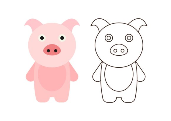 Download Free Kids Coloring Pig Graphic By Studioisamu Creative Fabrica for Cricut Explore, Silhouette and other cutting machines.