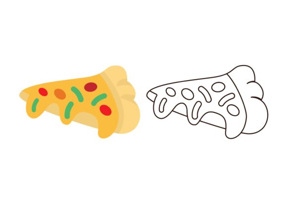 Print on Demand: Kids Coloring Pizza Graphic Illustrations By studioisamu