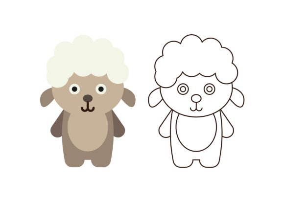 Print on Demand: Kids Coloring Sheep Graphic Illustrations By studioisamu