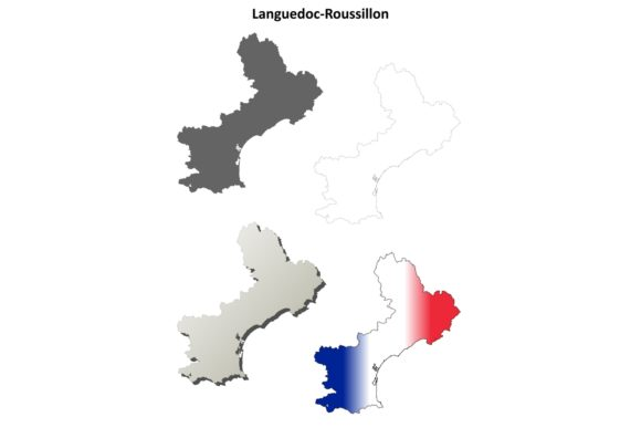 Download Free Languedoc Roussillon Outline Map Set Graphic By Davidzydd for Cricut Explore, Silhouette and other cutting machines.