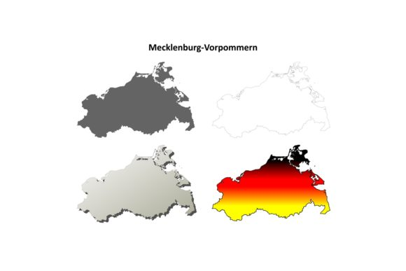 Mecklenburg-Vorpommern Outline Map Set Graphic Illustrations By davidzydd