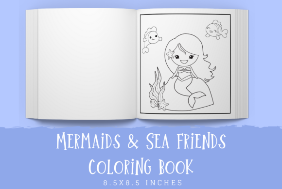 Print on Demand: Mermaid Coloring Book   Graphic KDP Interiors By KDP Template Designs