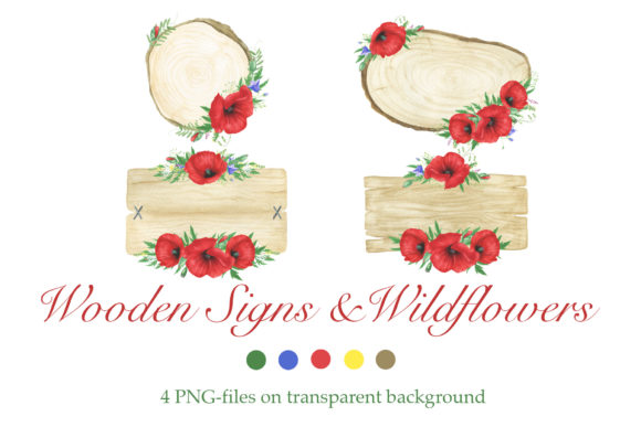 Print on Demand: Poppies and Wooden Signs Clipart Graphic Illustrations By tpushnaya