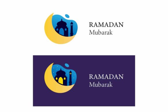 Download Free Ramadan Mubarak Logo With Moon Mosque Graphic By Aryo Hadi for Cricut Explore, Silhouette and other cutting machines.