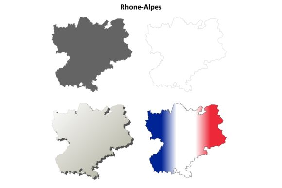 Rhone-Alpes Outline Map Set Graphic Illustrations By davidzydd