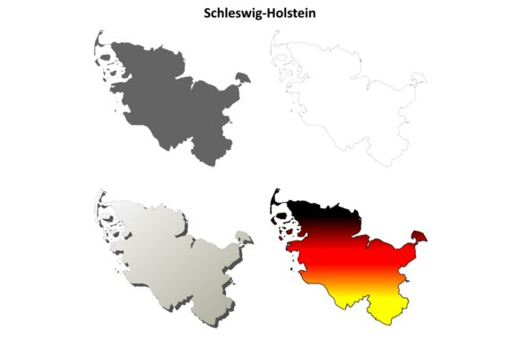 Schleswig-Holstein Outline Map Set Graphic Illustrations By davidzydd