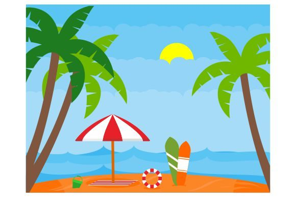 Download Free Summer Beach Flat Design Concept Graphic By Redvy Creative for Cricut Explore, Silhouette and other cutting machines.
