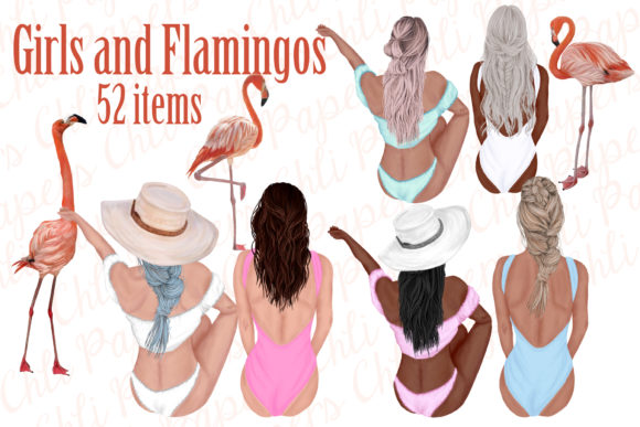 Summer Girls Clipart,Swimwear Girl Graphic Illustrations By ChiliPapers - Image 1