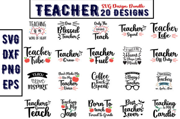 Download Free Teacher Bundle Graphic By Design Store Creative Fabrica for Cricut Explore, Silhouette and other cutting machines.