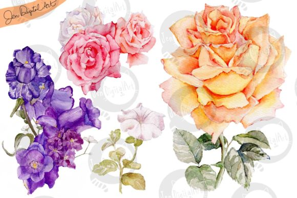 Download Free Watercolor Flowers Graphic By Jen Digital Art Creative Fabrica for Cricut Explore, Silhouette and other cutting machines.