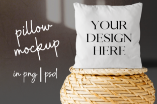 Print on Demand: White Pillow Mock Up on Wicker Basket Graphic Product Mockups By Mockup Venue