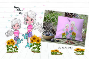 Print on Demand: Happy Mother's Day Water the Sunflower Graphic Illustrations By Suda Digital Art