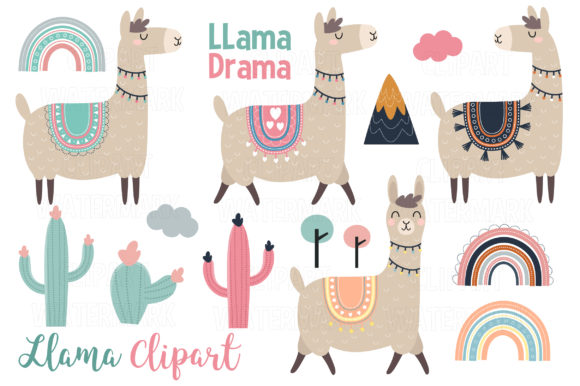 Llama and Alpaca Clipart Graphic Illustrations By magreenhouse