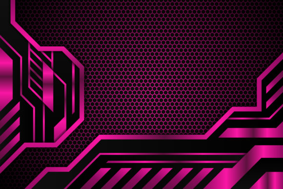 Print on Demand: Pink Black Gradient Hexagon Game Graphic Backgrounds By noory.shopper