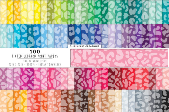 100 Leopard Print Pattern Digital Papers Graphic Backgrounds By clipheartcreations