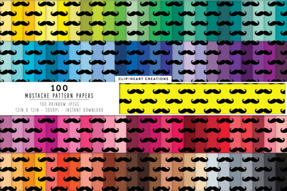 Download Free 100 Mustache Pattern Digital Papers Graphic By for Cricut Explore, Silhouette and other cutting machines.