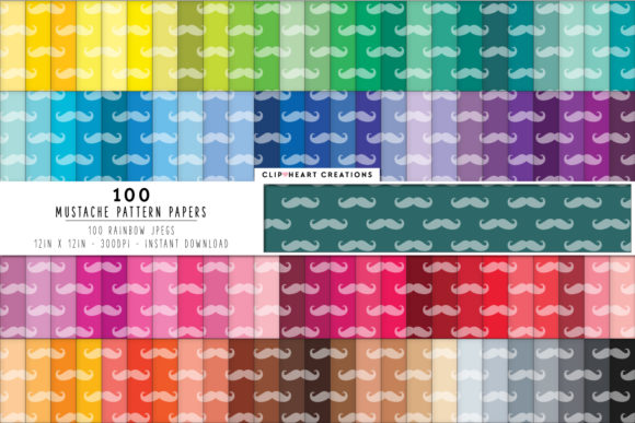 100 Mustache Pattern Digital Papers Graphic Backgrounds By clipheartcreations