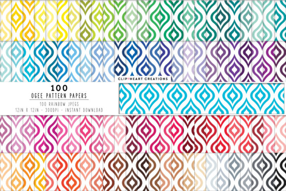 100 Ogee Pattern Digital Paper Graphic Backgrounds By clipheartcreations