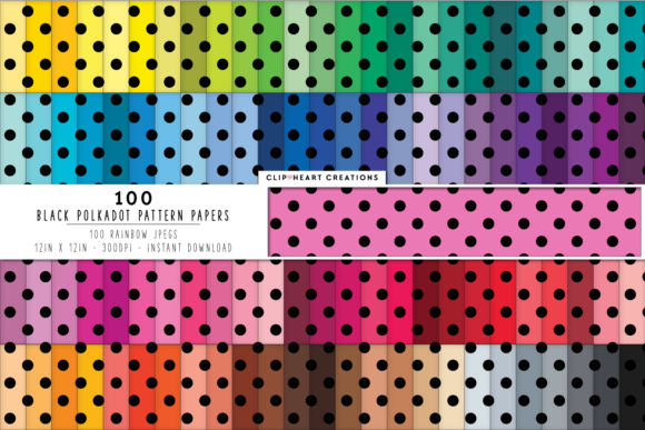 Download Free 100 Polka Dot Pattern Digital Paper Pack Graphic By for Cricut Explore, Silhouette and other cutting machines.