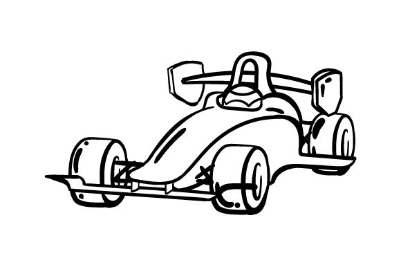 Racecar Coloring Page Kinder Plotterdatei von Creative Fabrica Crafts