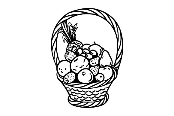 Download Free Fruit Basket Coloring Page Svg Cut File By Creative Fabrica for Cricut Explore, Silhouette and other cutting machines.