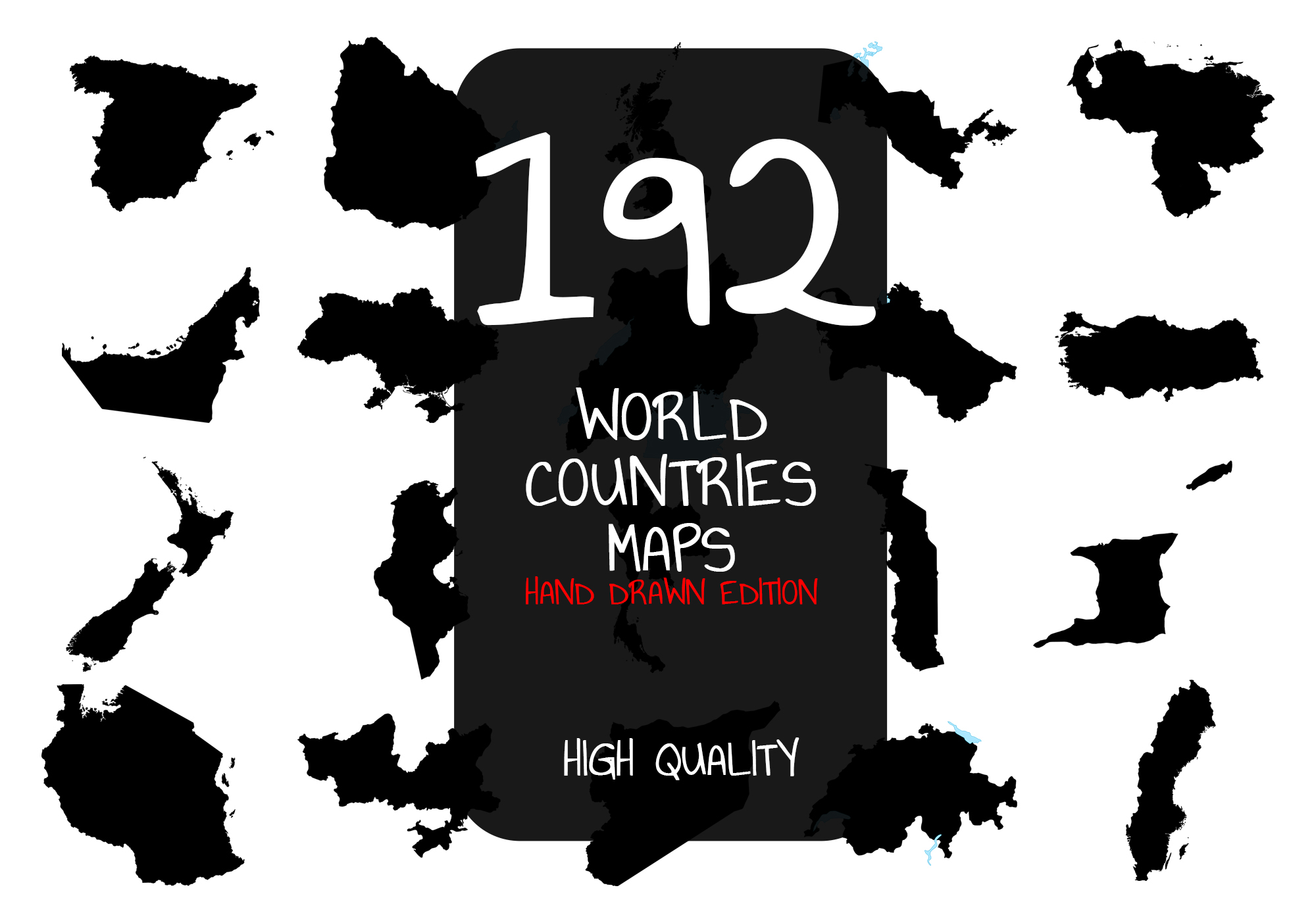 192 Hand Drawn World Countries Maps SVG File