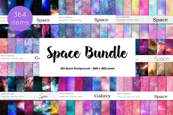 364 Space Galaxy Bundle Gráfico Texturas Por BonaDesigns