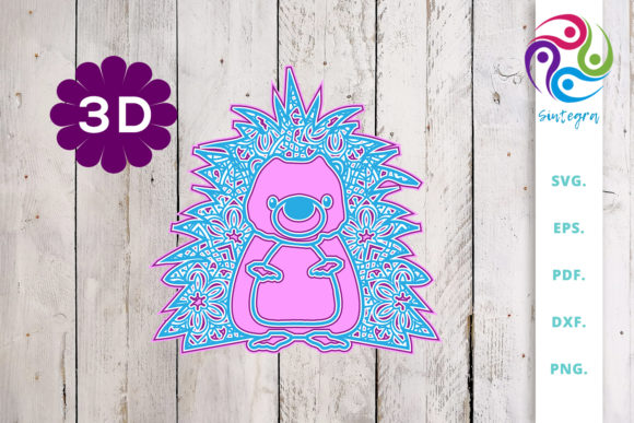 Print on Demand: 3D Multi Layer Cute Hedgehog Graphic 3D SVG By Sintegra