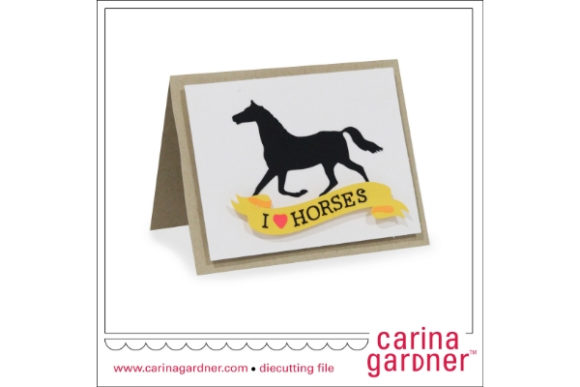 Horse Card Graphic 3D SVG By carina2