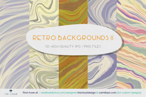 Print on Demand: 5 Retro Texture Background  Patterns Graphic Backgrounds By Inkclouddesign