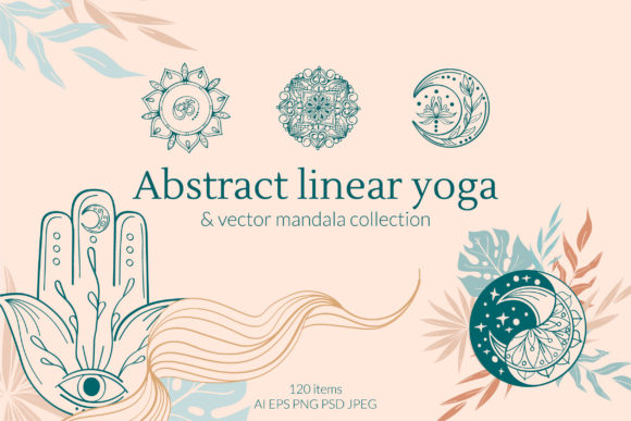 Abstract Linear Yoga and Mandala Set Graphic Objects By Tatyana_Zenartist