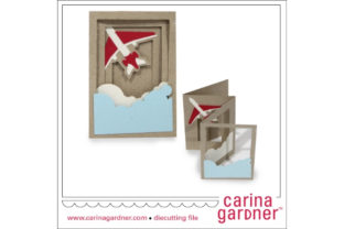 Airplane Accordion Card Graphic 3D SVG By carina2
