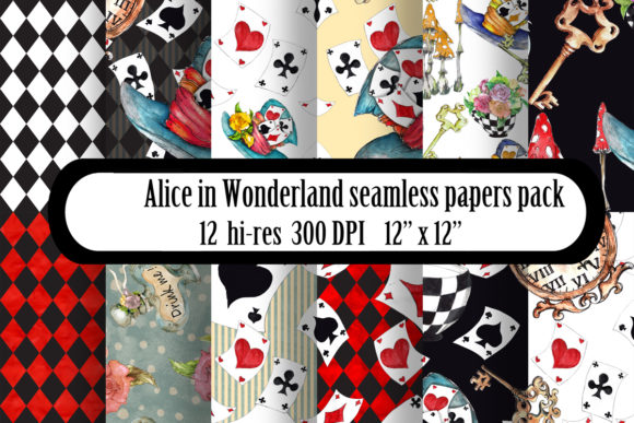 Alice in Wonderland Seamless Patterns Gráfico Moldes Por arevkasunshine