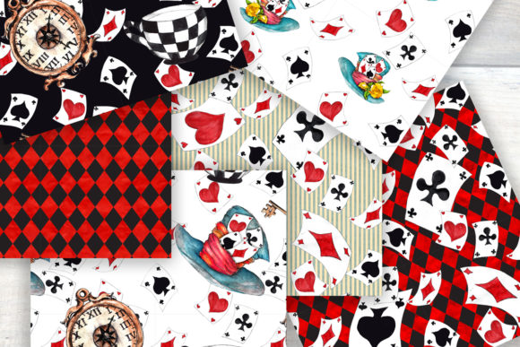 Alice in Wonderland Seamless Patterns Graphic Patterns By arevkasunshine - Image 2