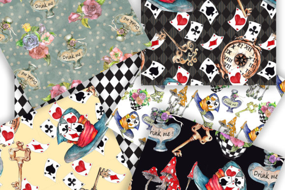 Alice in Wonderland Seamless Patterns Graphic Patterns By arevkasunshine - Image 3