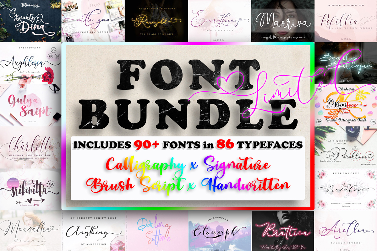 Download Free All Collections Font Bundle Bundle Creative Fabrica for Cricut Explore, Silhouette and other cutting machines.