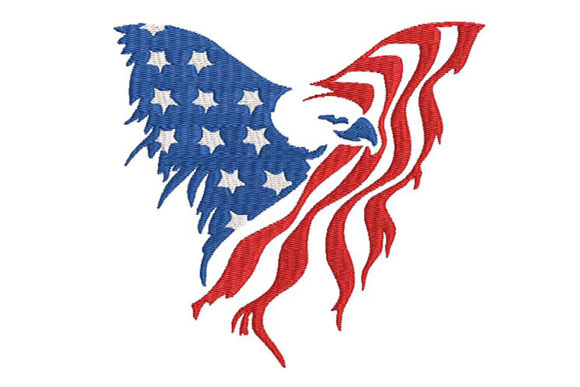 Print on Demand: American Eagle Flag Stylized Independence Day Embroidery Design By Embroidery Shelter - Image 1