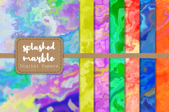 Print on Demand: Artistic Splashed Marble Digital Papers Graphic Backgrounds By Prawny