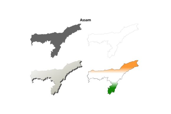 Download Free Assam Outline Map Set Graphic By Davidzydd Creative Fabrica for Cricut Explore, Silhouette and other cutting machines.
