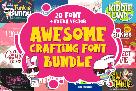 Print on Demand: Awesome Crafting Font Bundle  By figuree studio