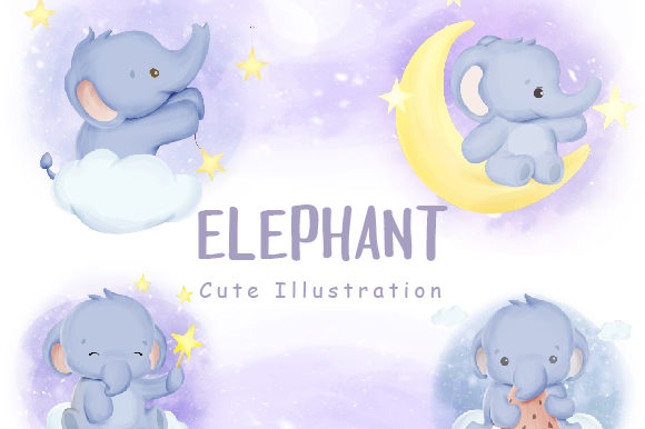 Baby Elephant Cute Animal Collection Graphic Illustrations By alolieli
